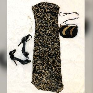 Black and Gold Strapless Body-Con Dress-XS